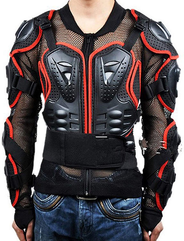 YANZI Motorcycle Full Body Armor Jacket Shirt, Armour Protector Guard Pro Street Motocross ATV Motocross Gear Suits,Red,S