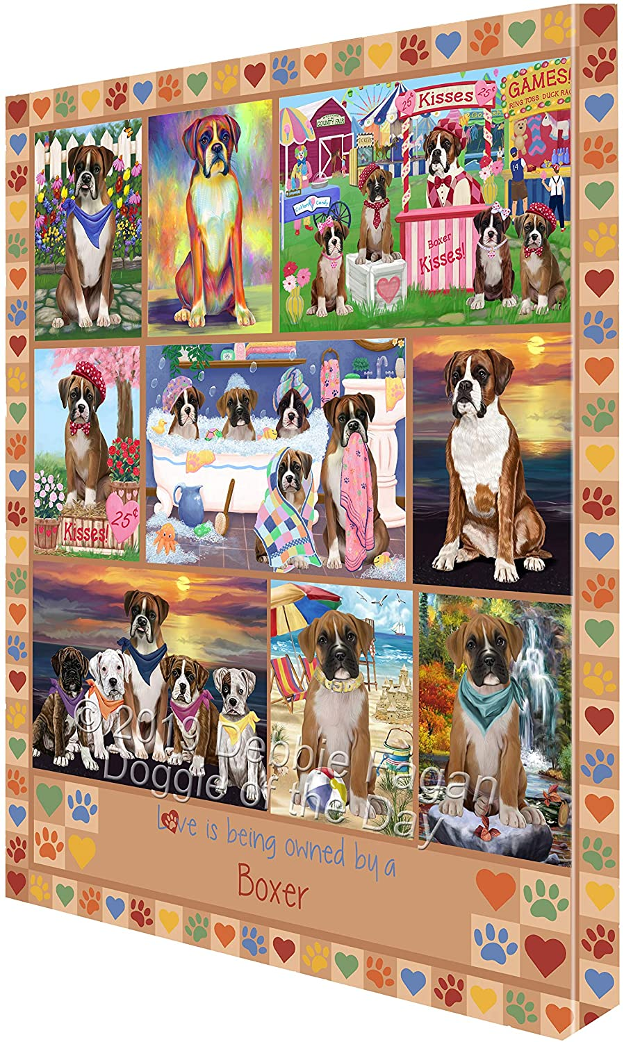 Love is Being Owned Boxer Dog Beige Canvas Print Wall Art Décor CVS137762 (16x20)