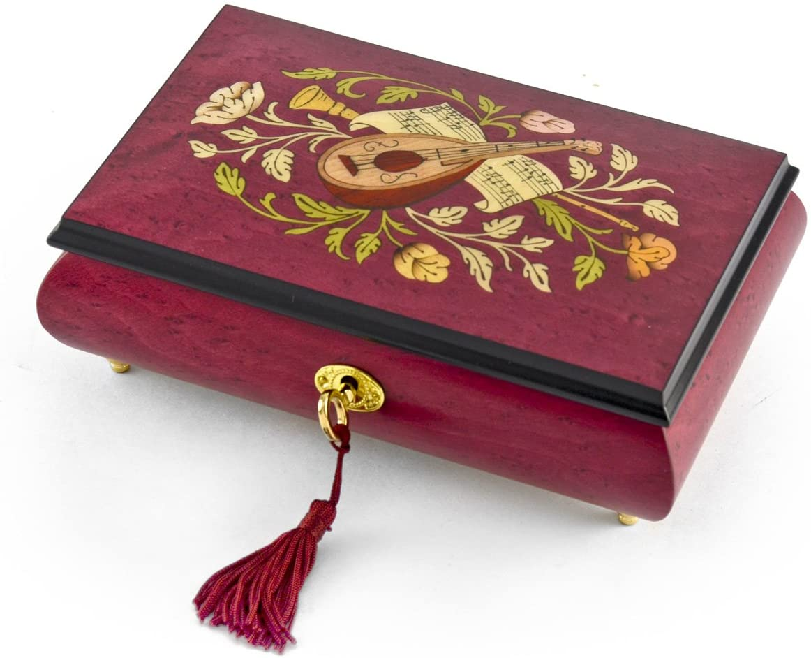 Gorgeous Red Wine Instrument and Floral Wood Inlay Musical Jewelry Box Huge Sale - Many Songs to Choose - Row Your Boat