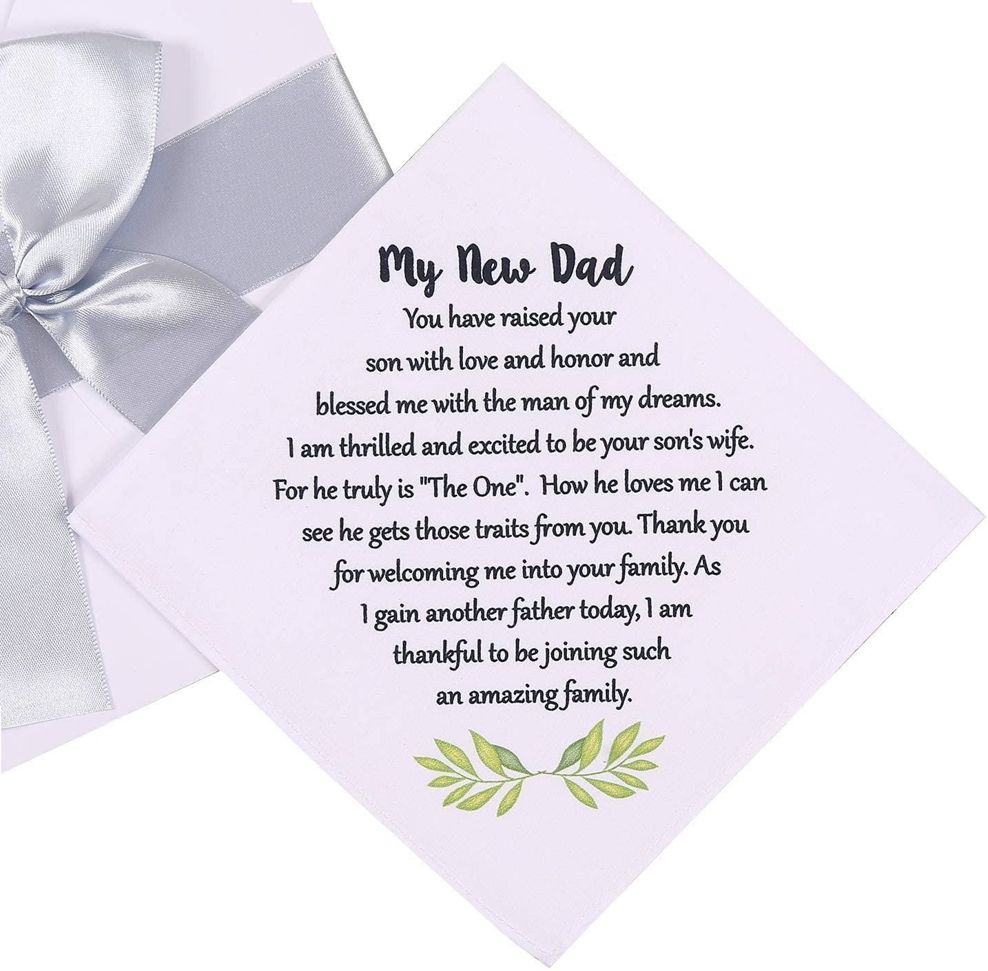 Wedding Handkerchief for New Dad, Wedding Gift for Grooms Father, New Dad Hankie from Bride Wedding Keepsake (New Dad)