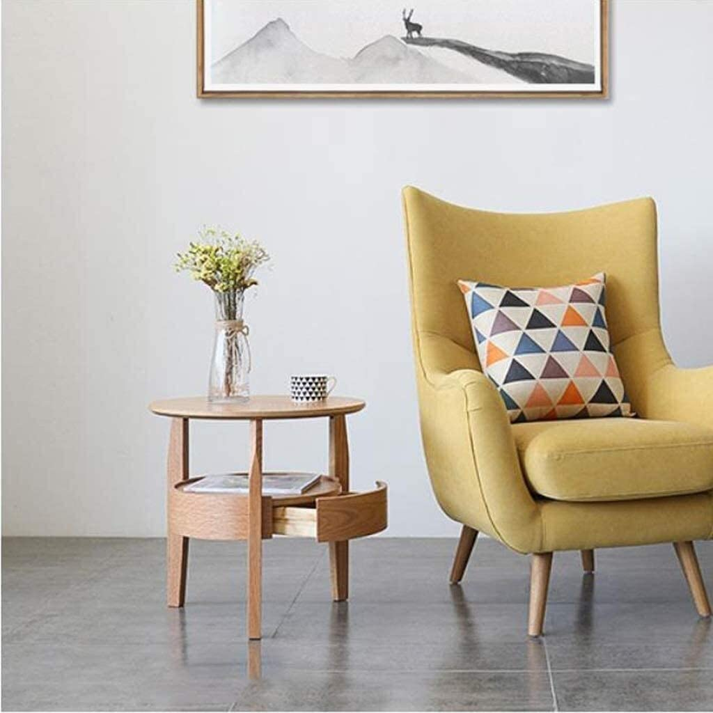 Side Table End Tables Tea Table Double-Layer Round Solid Wood with Drawer Sofa Table Coffee Table Living Room Side Table (Color : Wood Color, Size : 58CM)