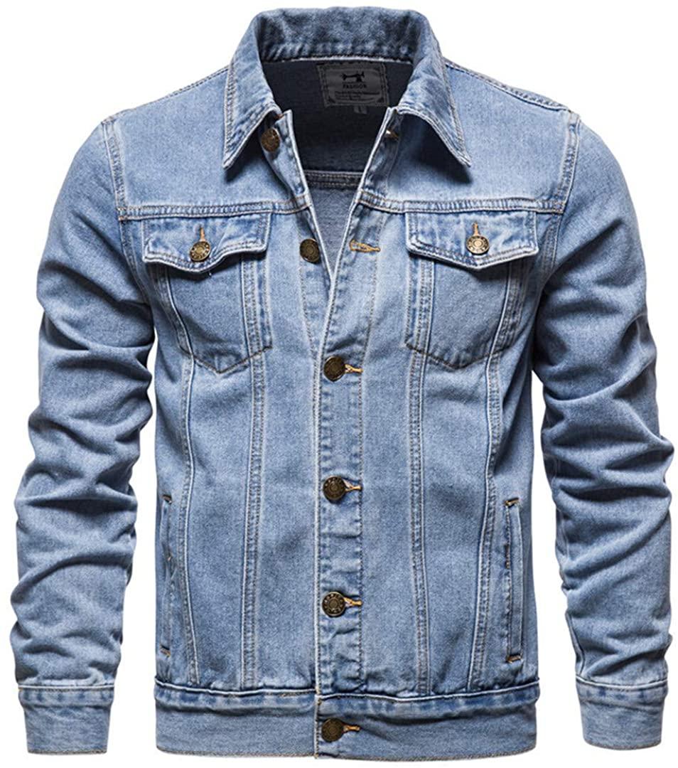Har&Jensilln Denim Jacket Men Casual Solid Streetwear Cowboy Jackets Multi-Pockets Jeans Coats