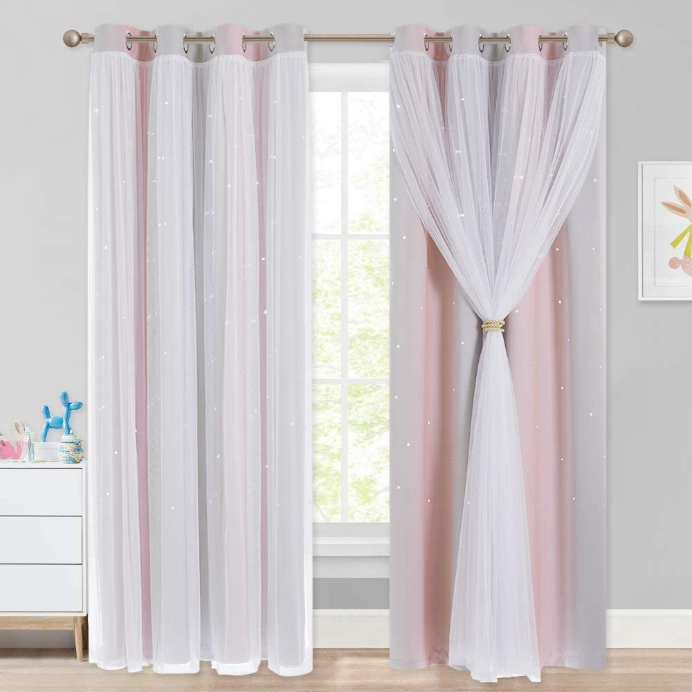 NICETOWN Kids Curtains for 84 inches Long, Baby Room Decor, Thermal Insulated Stylish Dressing White Sheer x Twinkle Star Blackout Drapes for Boys Nursery (2 Pieces, Pink & Grey, Tie Backs Included)