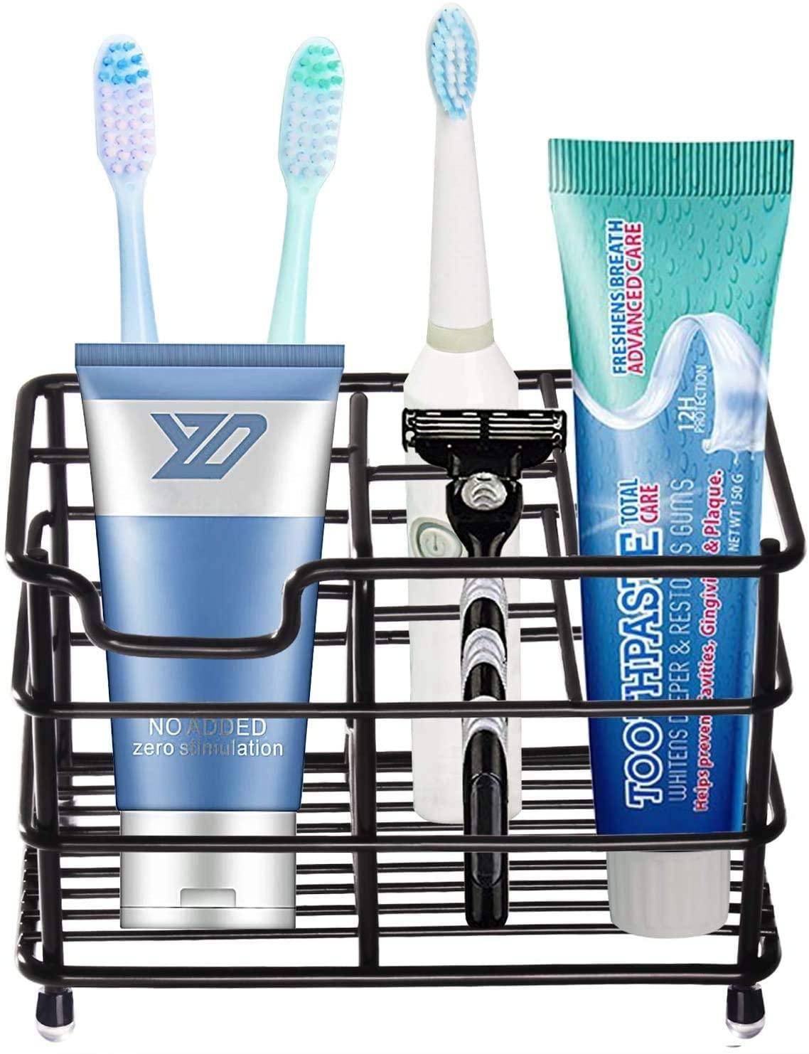 beLaxed Toothbrush Holder for Bathroom, Stainless Steel Rustproof Toothpaste Stand Set, Bathroom Sink Organizer Dispenser