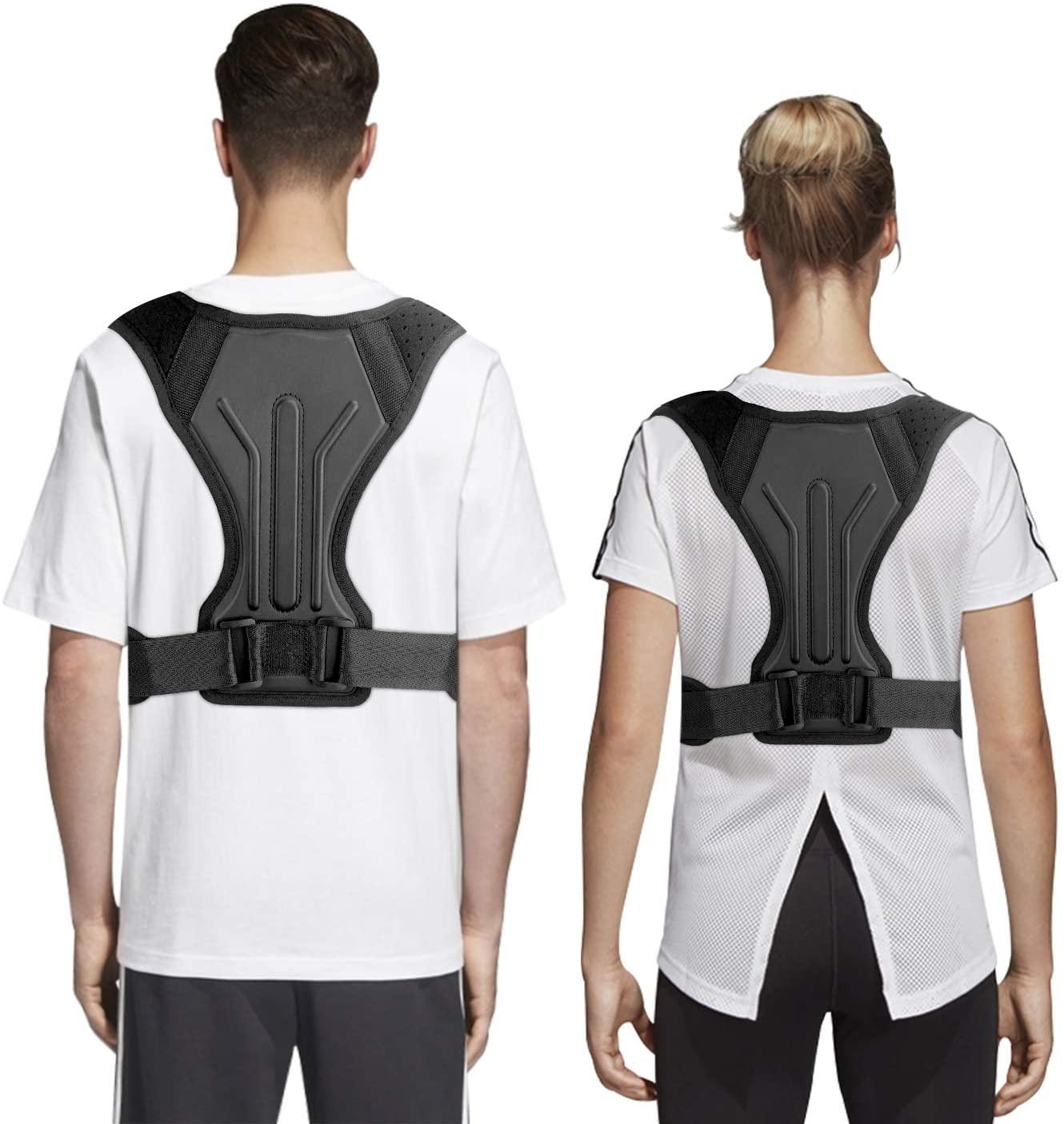 BFASU Fully-Adjustable Posture Corrector for Better Posture, Upper-Back, Neck and Shoulder Pains-Relief, Back-Straightener Support Brace for Men and Women, Black, S- XL