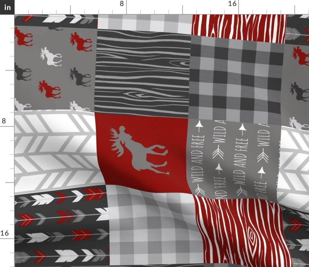 Spoonflower Fabric - Moose Wholecloth Quilt Red Black Grey White Buffalo Plaid Wood Arrows Printed on Chiffon Fabric by The Yard - Sewing Fashion Apparel Dresses Home Decor