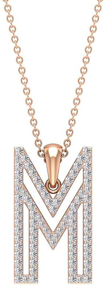 M Initial Alphabet Pendant, HI-SI 1/2Ct Diamond Name Necklace, Stackable Wedding Pendant, Statement Name Pendant, Women Anniversary Necklace 18K Gold