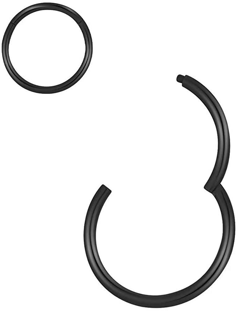 Nose Rings Hoop, 316L Surgical Steel Hinged Nose Rings Hoop 20G 18G 16G 14G Septum Ring Helix Cartilage Hoop Earring Body Piercing Jewelry 5mm-14mm Diameter, Gold, Rose Gold, Silver, Black, Rainbow