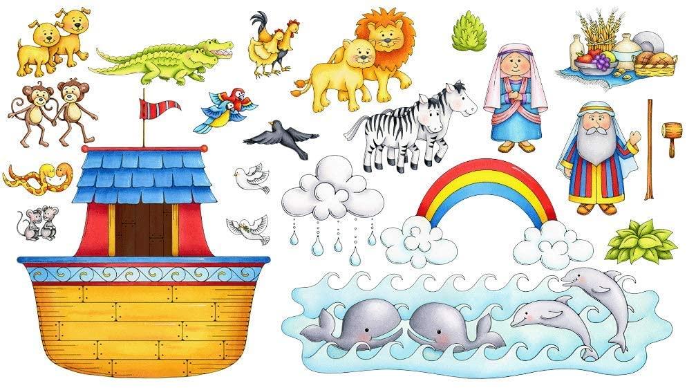 Noah's Ark Basic Felt Set for Bible Flannel Board Stories 23 Pieces Activity Pages Story Precut Figures