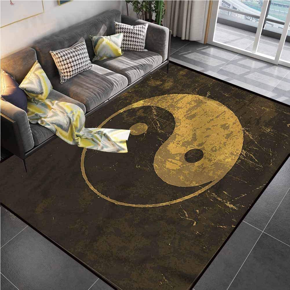 Area Rugs Print Large Carpet Ying Yang,Harmony Themed Taijtu Living Room Rug for Living Dining Dorm Playing Room Bedroom 6'x9'