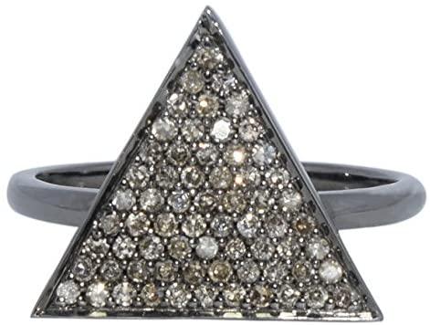 Shine Jewel 92.5 sterling silver champange diamond tiangle ring