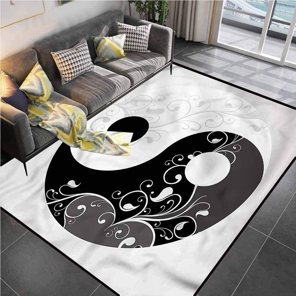Area Rug Rugs Print Large Floor Mat Ying Yang,Swirling Branches Flow Furniture Sliders for Carpet for Living Room Bedroom Playing Room 6'6