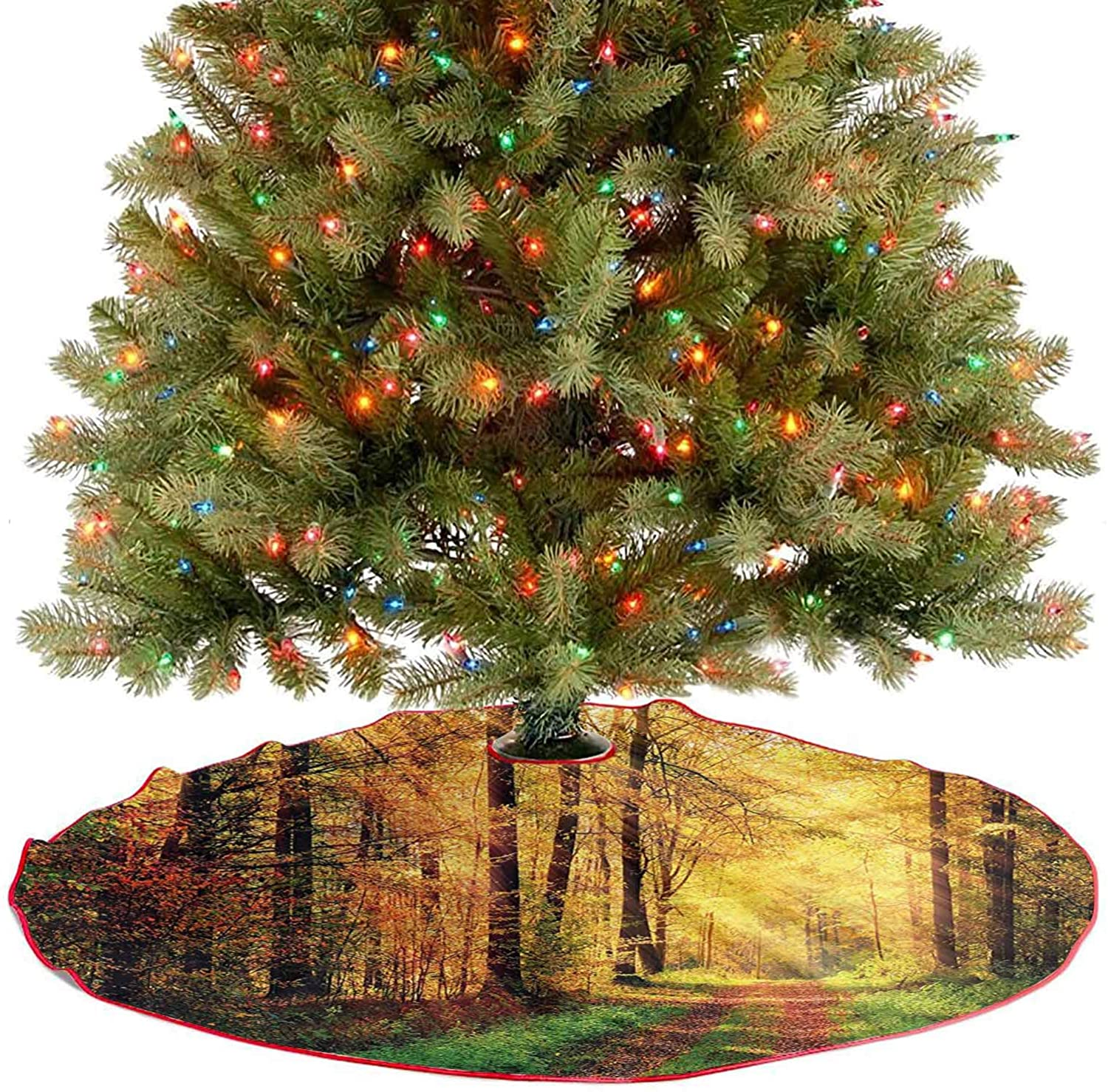 Xmas Tree Mat Autumn Forest Scenery with Rays of Warm Sun Lights on Shady Trees Woods Fine Decorative Handicraft for Holiday New Year Decorations - 48 Inch