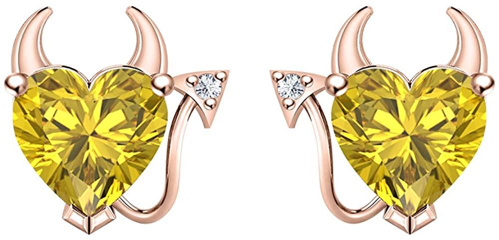 RUDRAFASHION Womens Lovely Yellow Sapphire & CZ Devil Heart Earrings 14K Rose Gold Plated
