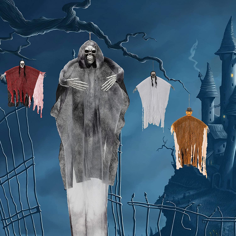 LessMo Halloween Hanging Ghost, Hanging Skeleton Grim Reapers in Horror Robe, for Best Halloween Hanging Decorations, Party, Haunted House Prop, Outdoor and Indoor, Garden, Lawn, Black