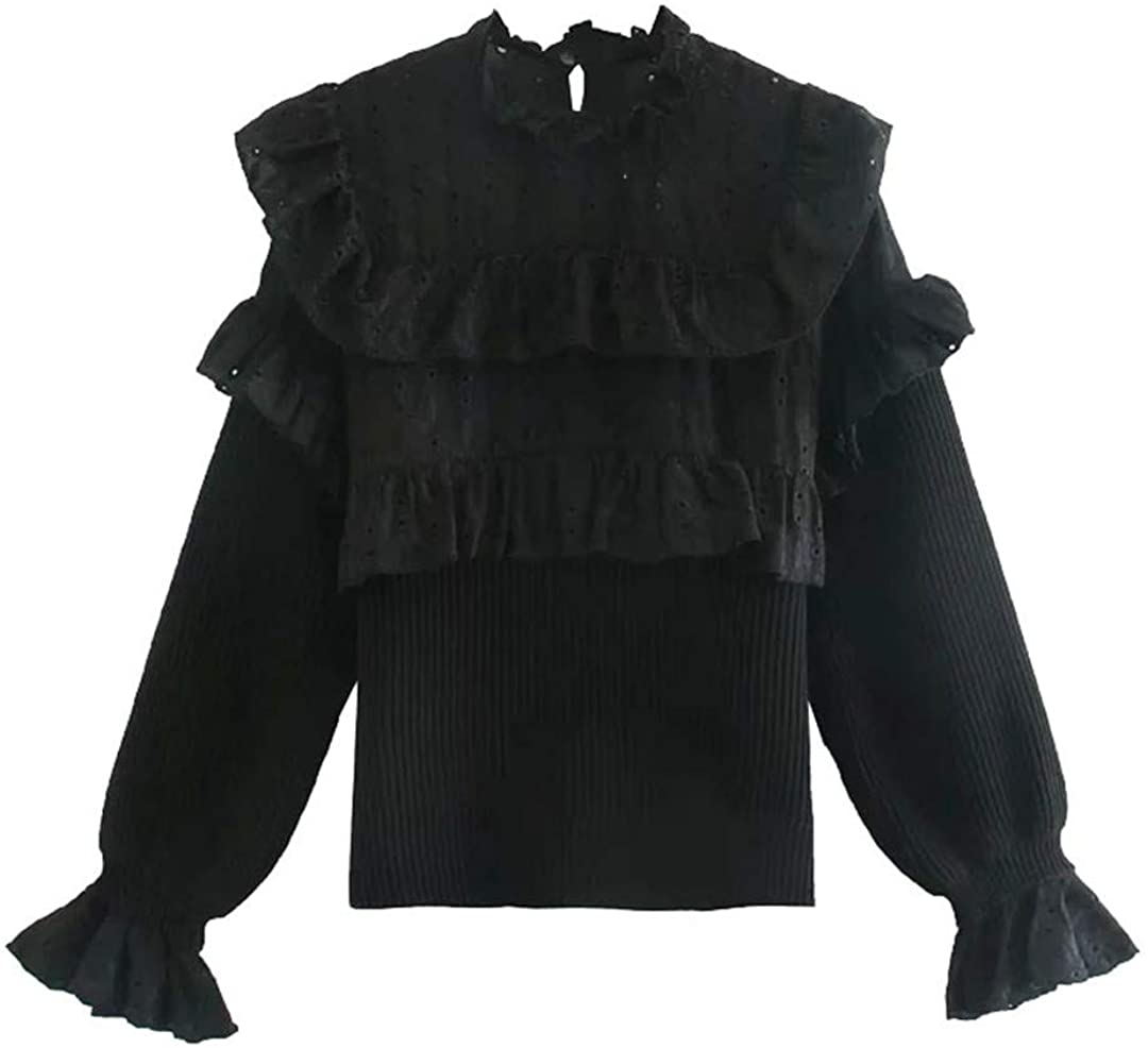 Women with Cutwork Embroidery Ruffled Knitted Sweater Vintage Long Sleeve Pullovers Chic Tops