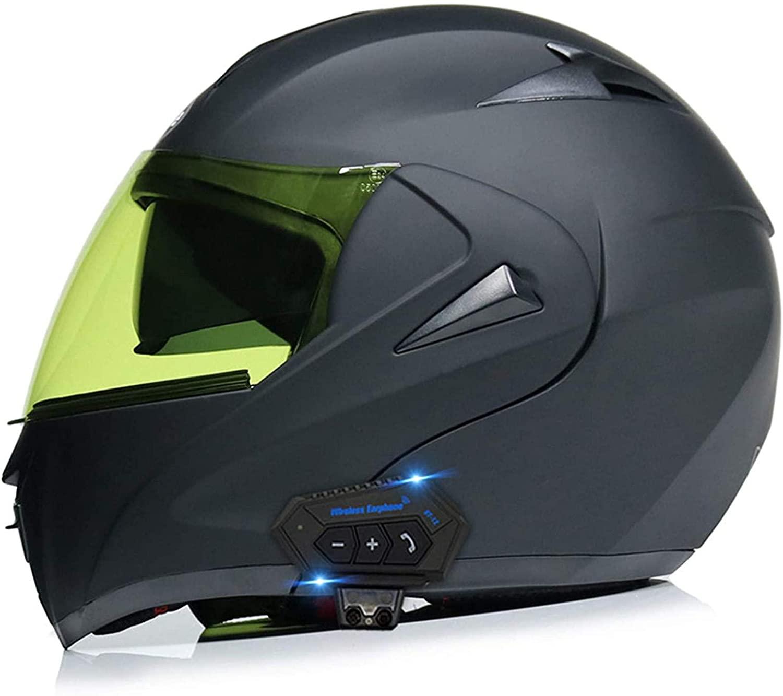 Yaad Flip Up Front Bluetooth Motorcycle Helmet,Youth Men Women DOT/ECE Approved Lightweight Motorbike Crash Modular Helmet Motocross Helmets,M=(57 58cm)