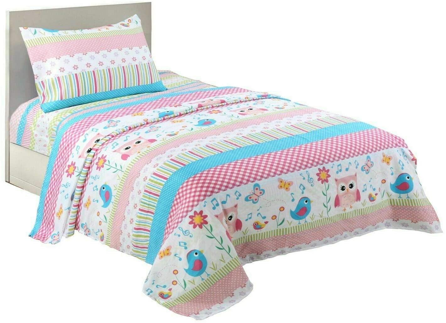 MarCielo Bed Sheets for Kids Twin Sheets for Kids Girls Boys Teens Children Sheets Soft Fitted Flat Printed Sheet Pillowcase Kids Bedding Bunk Beds Set Bird Garden A73 (Twin)