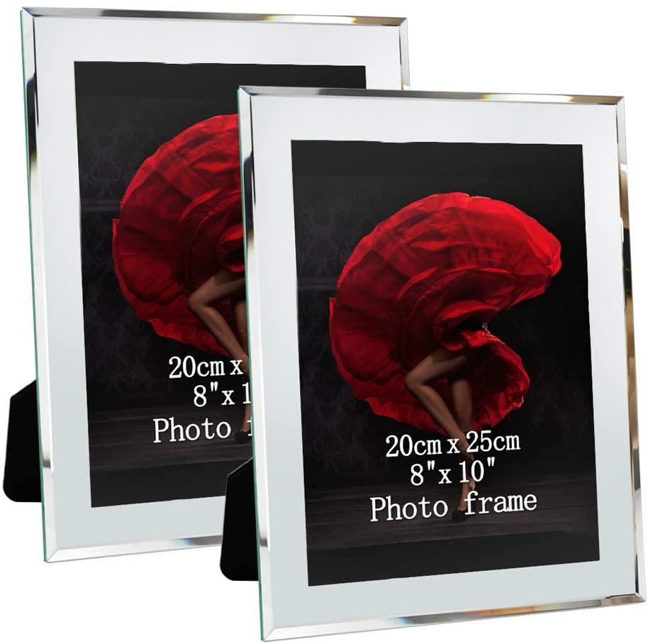 ZBEIVAN Picture Frames 8x10 Mirrored Edge Glass 2pcs Vertical Horizontal Desk Tabletop Standing Multi 10x8 Photo Frame Bulk Set