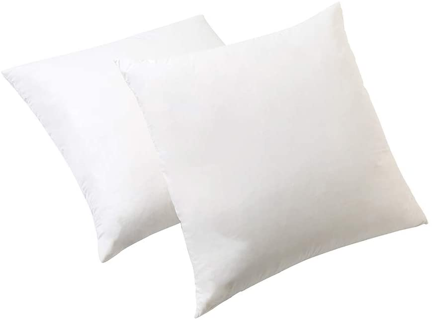 Hophor Natural Duck Down Feather White Square Pillow for Sleeping, 2 Packs Bed Pillow 100% Cotton Fabric