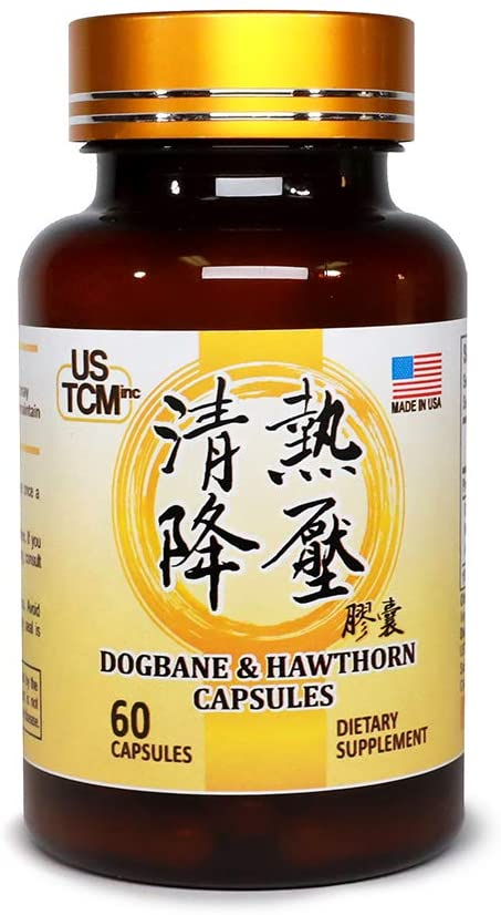 Dogbane Hawthorn Capsules 清热降压胶囊 500mg 60 Vegetable Capsules 100% Natural No Preservatives Extra Strength for Healthy Blood Pressure and Reduce Hypertension Heat Cleanse Made in USA