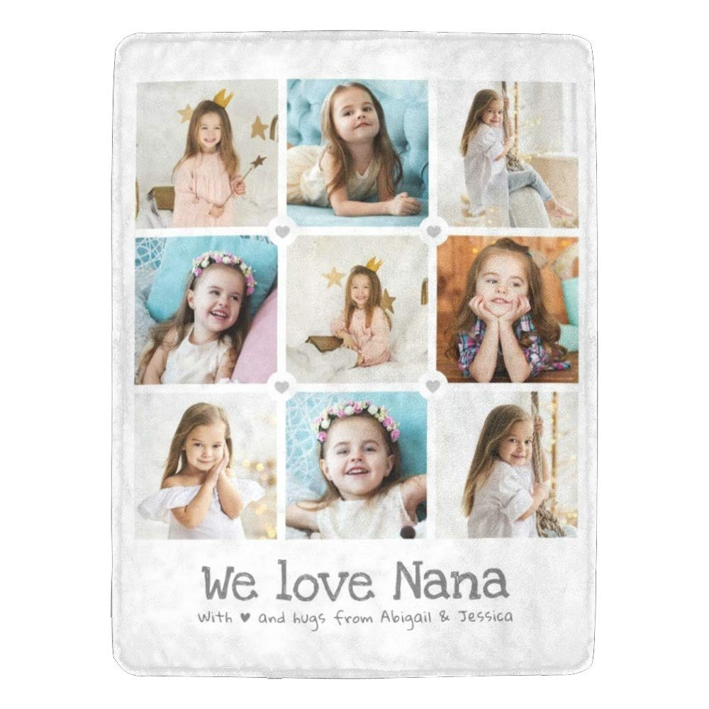 Personalized Baby Blanket Baby Girl Blanket Baby Boy Blanket Custom Blanket with 1-9 Photo Collages or Text