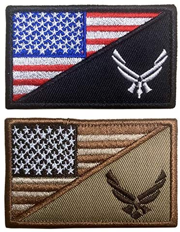 Antrix 2 Pack Tactical American USA Flag US Air Force Logo Patch Morale Insignia Tag Applique Emblems Badges Patch Hook Fastener Patch for Backpacks Caps Uniforms -USAF