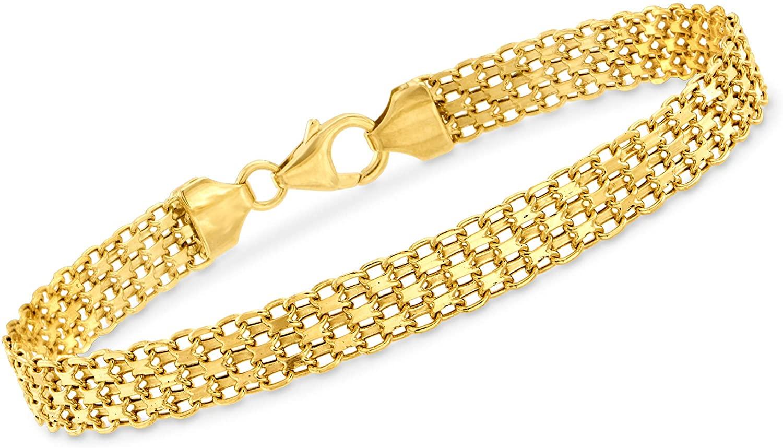 Ross-Simons Italian 18kt Yellow Gold Bismark-Link Bracelet For Women