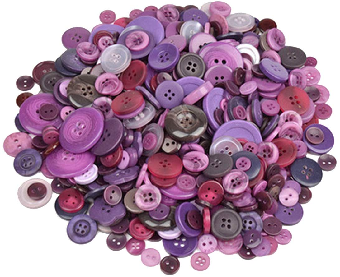 300 PCS Assorted Dark Purple Resin Buttons 2 and 4 Holes Round Craft for Sewing DIY Crafts Children's Manual Button Painting,DIY Handmade Ornament