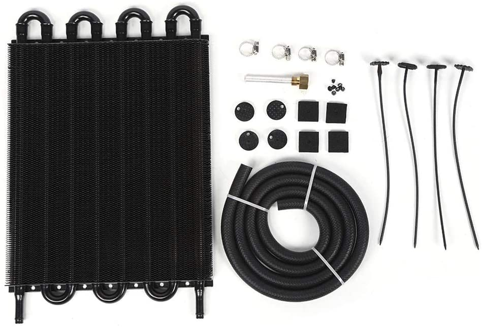 Oil Cooler, Universal Aluminum Alloy Transmission Oil Cooler Radiator Auto Car Modified Parts, Black (8 Row Black)