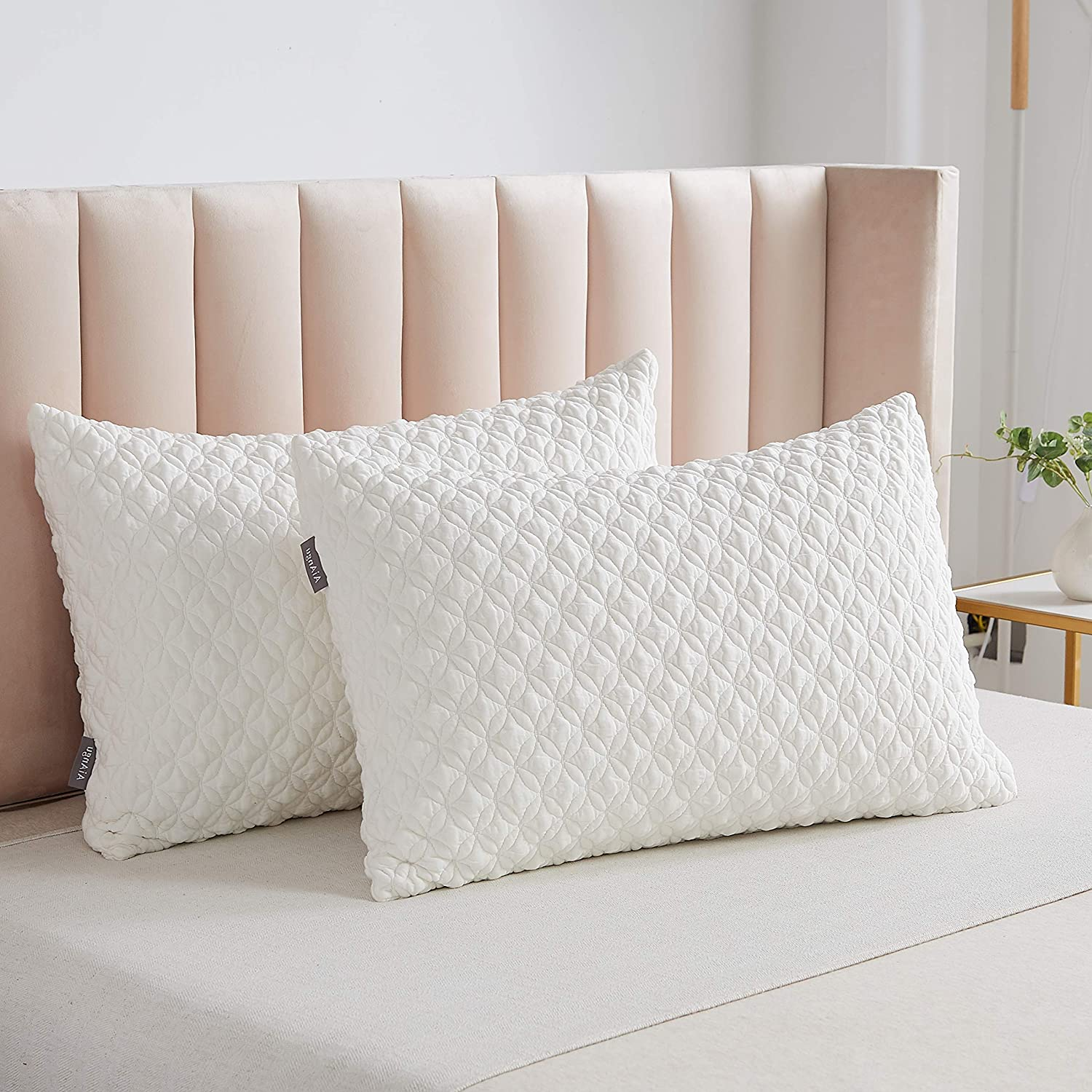 SONORO KATE Foam Pillow for Sleeping Shredded Bed Bamboo Cooling Pillow with Adjustable Loft 3D Design Hypoallergenic Washable Removable Derived Rayon Zip Cover (White(Soft), King)
