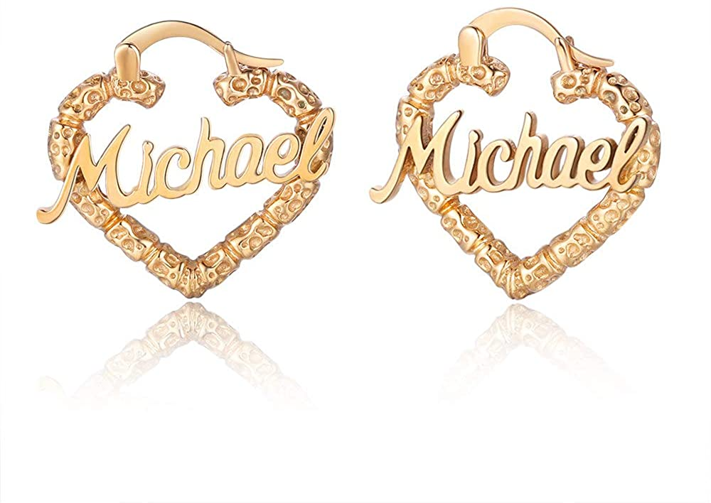 Personalized Name Earrings for Women Bamboo Hoop Any Name Earrings for Her Girls Custom Chunky Bamboo Name Earrings for Mother