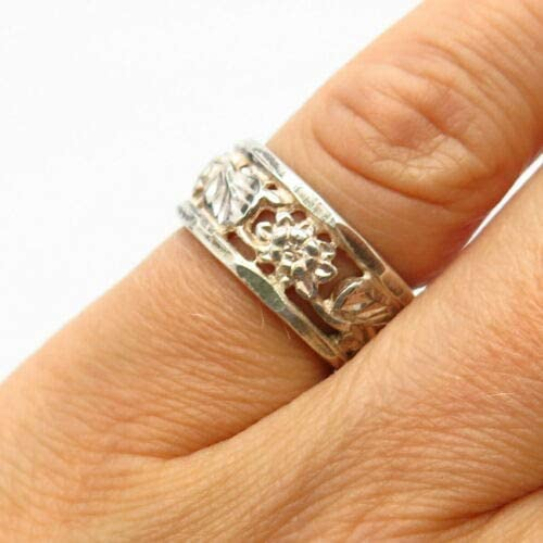 925 Sterling Silver Floral Leaf Design Band Ring Size 5 Halloween & Christmas Gift