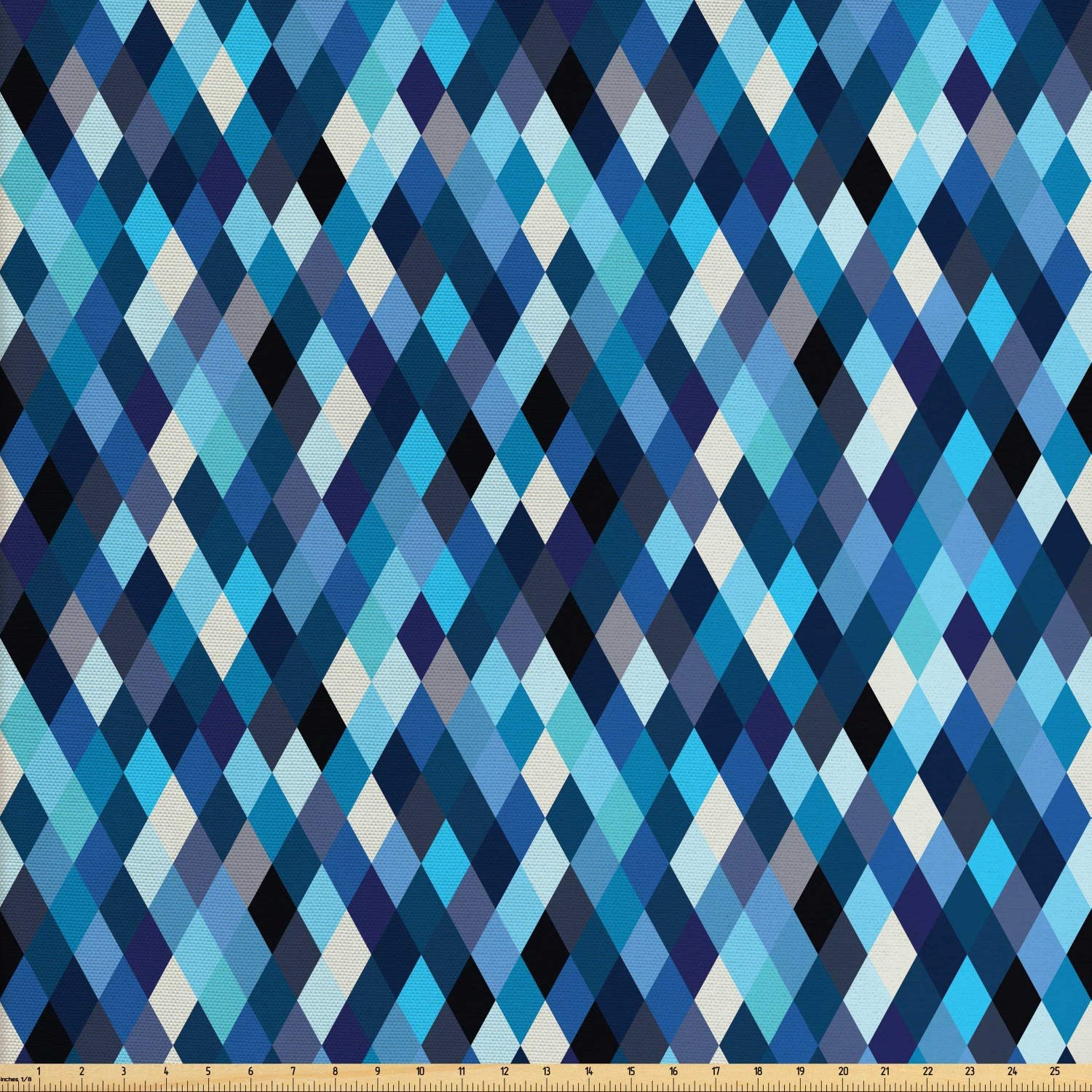 Ambesonne Modern Fabric by The Yard, Fashion Triangles Hexagons and Geometrical Shapes in Blue and White Colors Image, Decorative Fabric for Upholstery and Home Accents, 1 Yard, Multicolor
