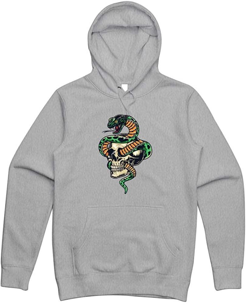 NameOnYou Cobra and Skull Men's Hoodies, Novelty Cotton Pullover Drawstring Fleece Sweatshirt with Pocket