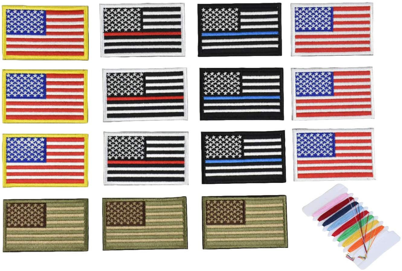 American Flag Embroidered Patch, sew on/Ironing Method ,Gold Border USA United States of America, US Flag Patch, for Caps,Bags,Backpacks,Tactical Vest,Military Uniforms