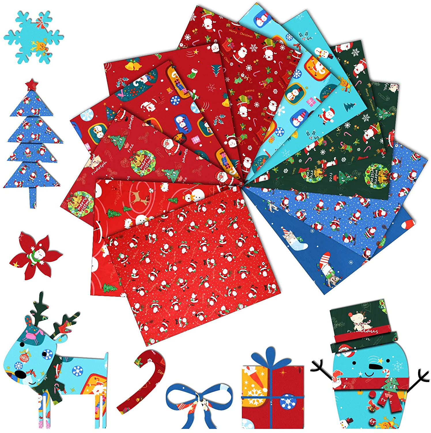 12 Pieces 16 x 20 Inch Christmas Cotton Fabric Bundle Squares Precut Fabric Quilting Fat Quarters Squares Christmas Tree Quarter Bundle Precut Santa Claus Fabric Scraps for Christmas DIY Sewing