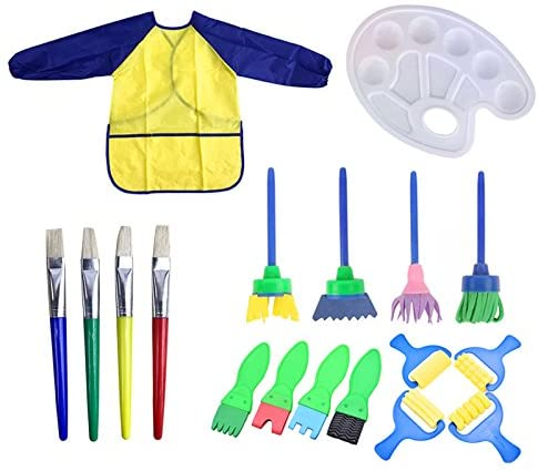 BEACON PET 18 PCS Kids Painting Brushes Set Children Sponge Drawing Art DIY Tools with Palette and Apron Painting Rollers For Kids Early Learning Art Craft DIY