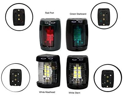 Pactrade Marine Boat Mini Green Starboard Red Port White Masthead and White Stern LED Navigation Light 12v up to 2NM