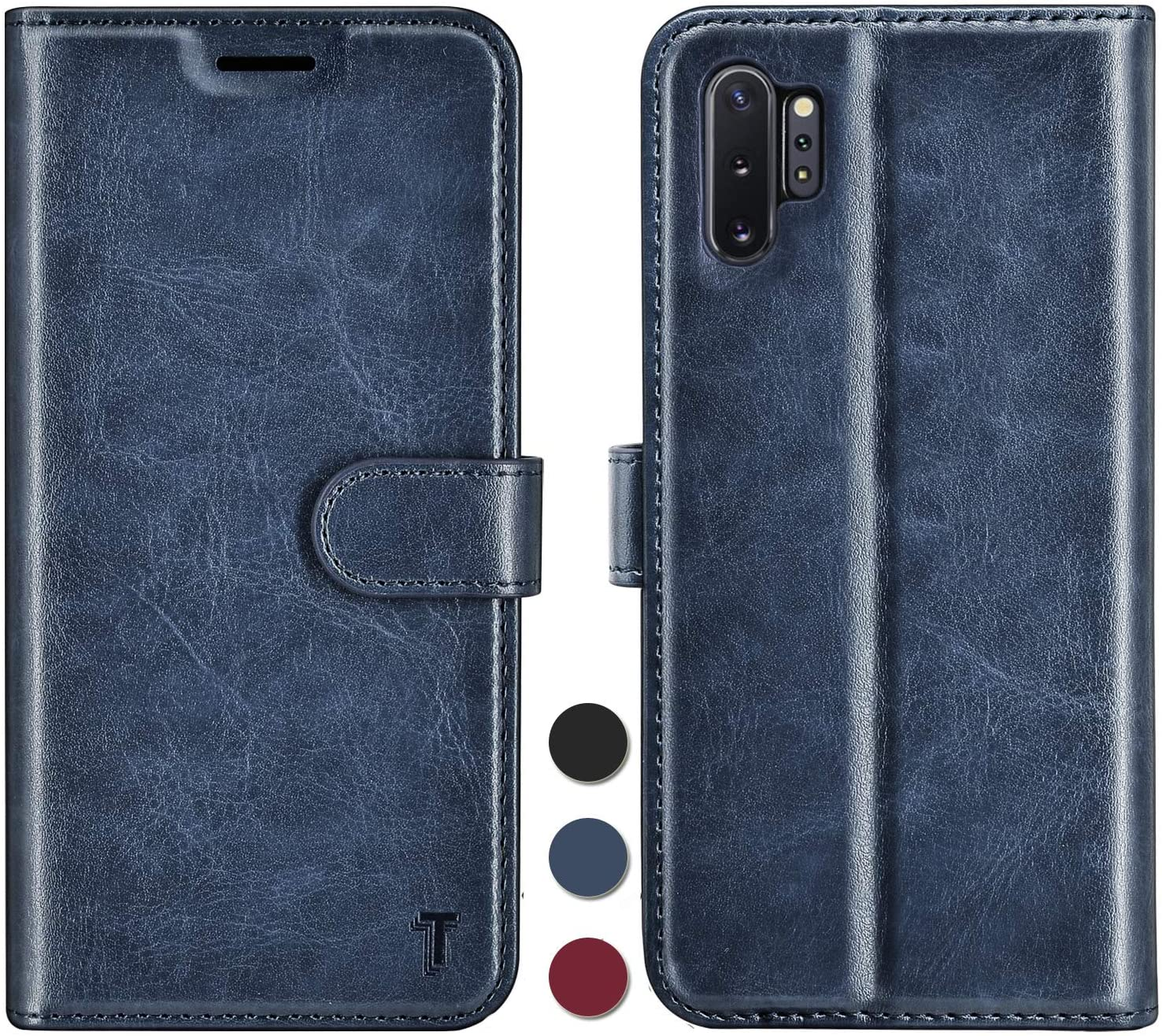 Njjex Samsung Galaxy Note 10 Case, for Galaxy Note 10 5G / Note 10 Wallet Case, RFID Blocking PU Leather Folio Flip ID Credit Card Slots Holder [Kickstand] Magnetic Closure Phone Cover [Dark Blue]