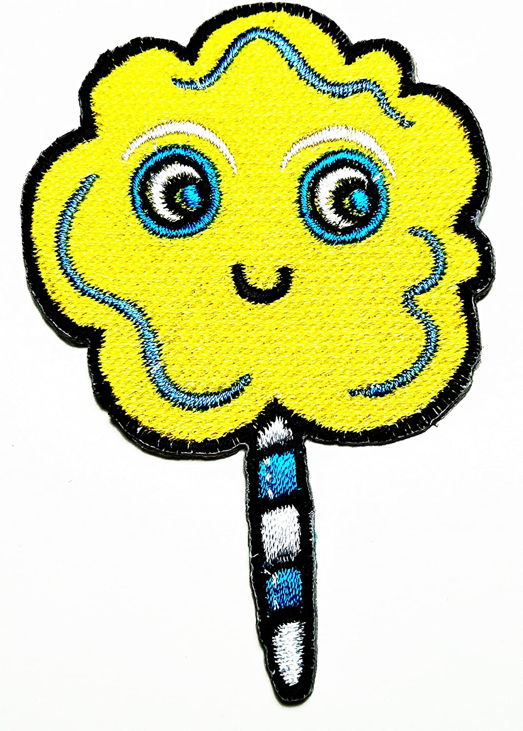 HHO Yellow Fancy Sweet Lollipop Candy Kid Patch Embroidered DIY Patches, Cute Applique Sew Iron on Kids Craft Patch for Bags Jackets Jeans Clothes