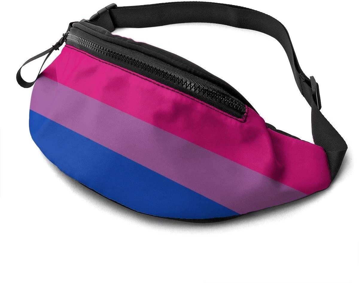 Bisexual Pride Flag Large Fanny Pack Sports Belt Waist Pack Shoulder Bag Bum Bag Hip Sack For Hiking Running Traveling Rave