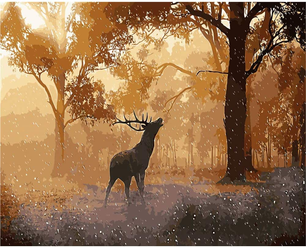 YANXIN DIY Paint by Numbers Kits for Kids and Adults,16x20 Inch Canvas Painting Pictures,Home Decor Wall Art Creative Painting Deer in The Snow Wild YX8006-OPA003