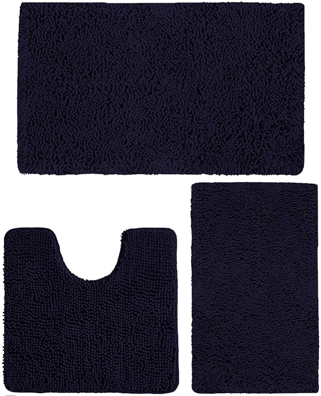 Bathroom Rugs Set Bath Non Slip Mat Extra Soft Ultra Water Absorbent Shaggy Microfiber Chenille Plush Carpet 1