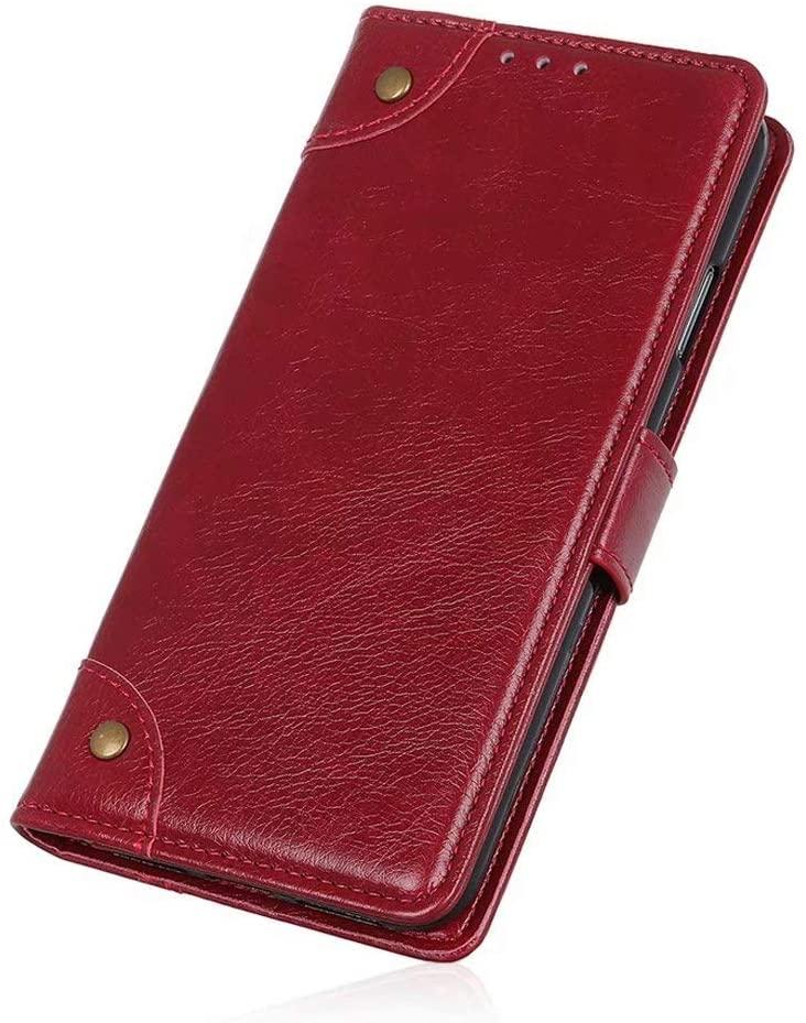 LG K51 Wallet Case-LG K51 Flip Case Wine Red, Futanwei [Flip Folio] [Full Protection] Premium PU Leather Wallet Case with Card Holder, Phone Case for LG K51