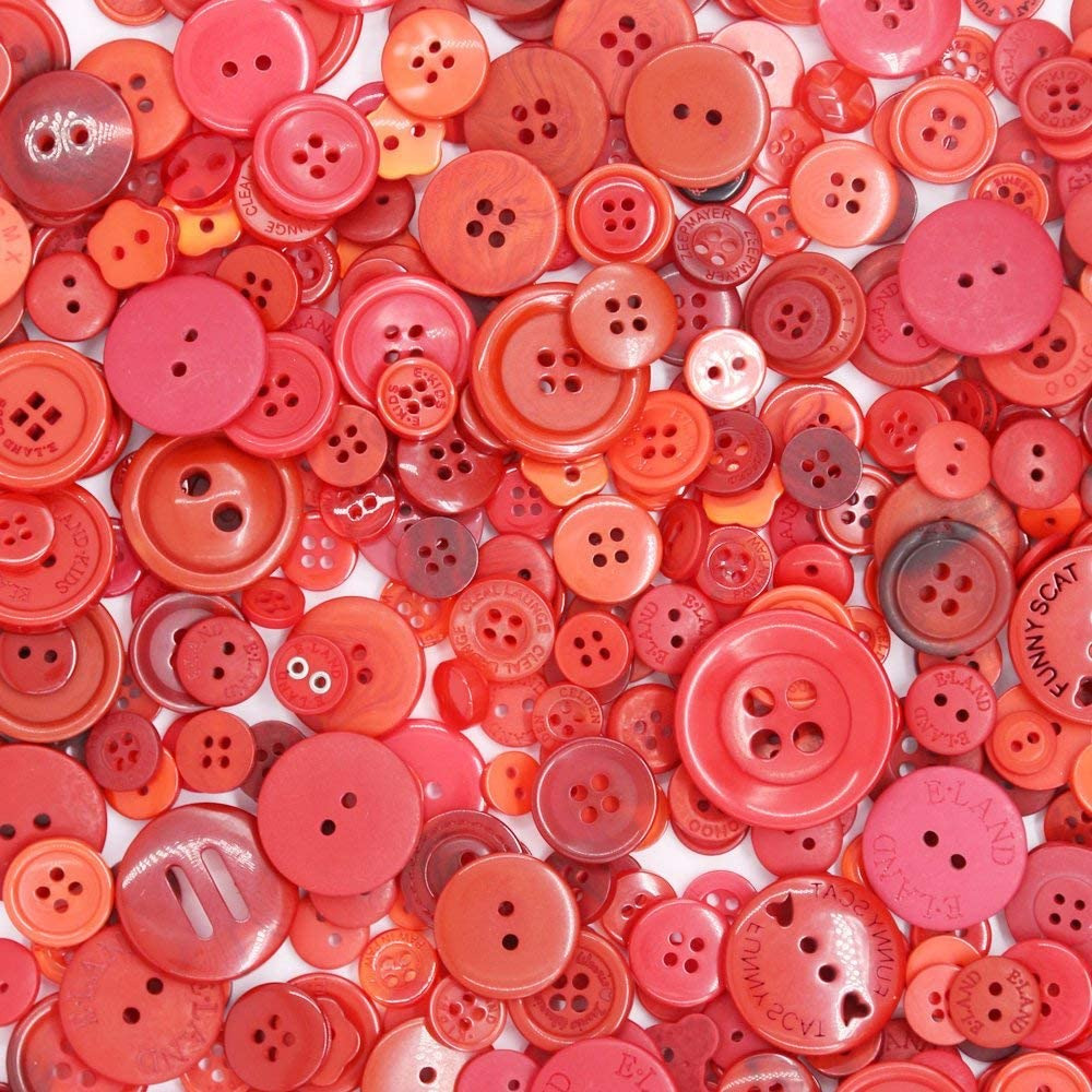 Esoca 650Pcs Red Buttons for Crafts Assortment Red Craft Buttons for Crafting, Art, Christmas