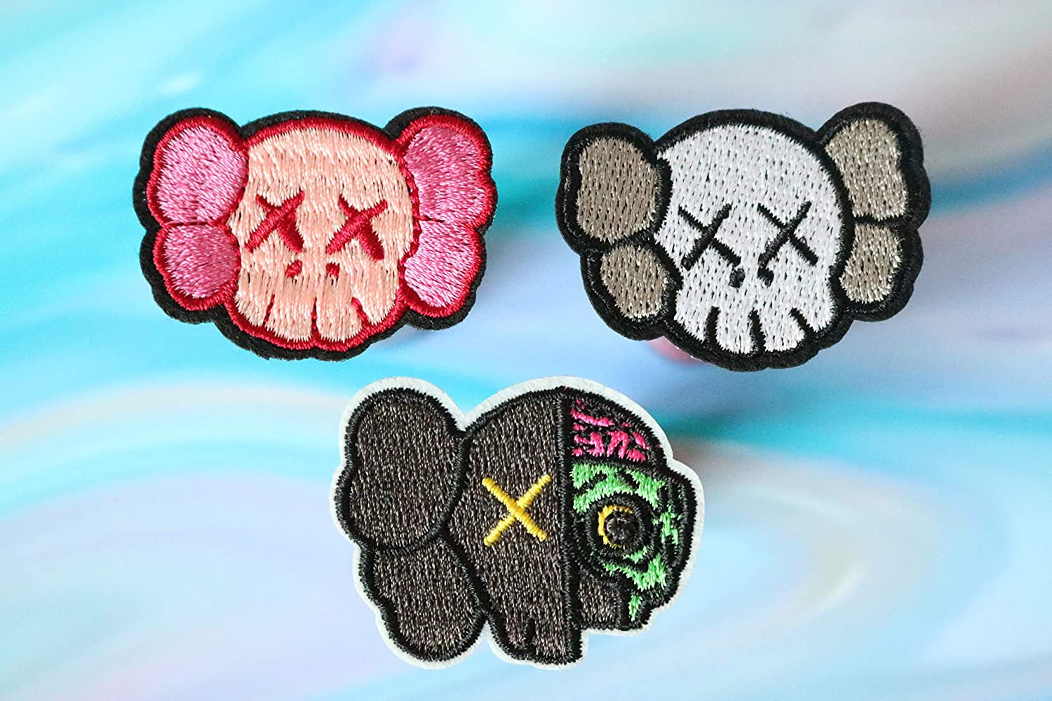 Mini Patch 3PCS Designers Patch, Face Cover Patch, Bundle Embroidery Iron On Patch, for Jackets Jeans Backpacks Elmo Embroidery Patches Iron On Cool Applique 3 PCS Bundle