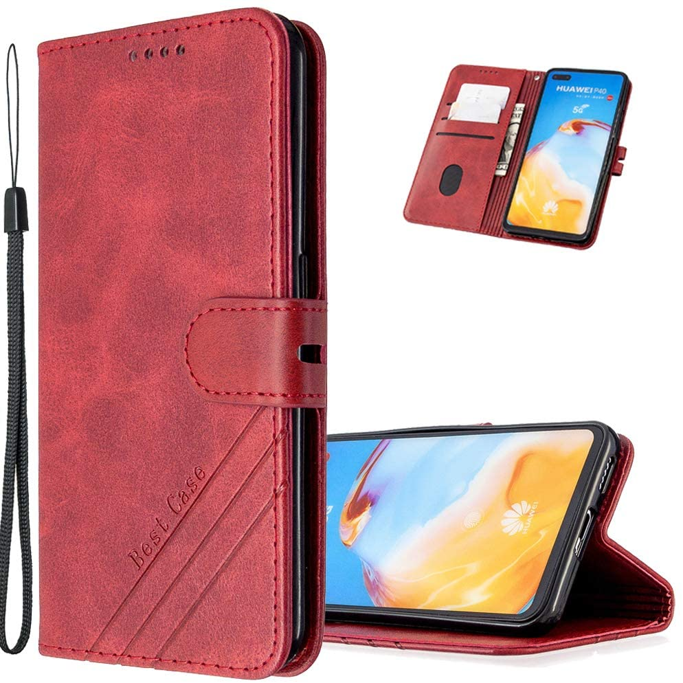 LEMAXELERS Galaxy A81 Case Wallet Cover Retro Premium PU Leather Premium Vogue Business Wallet Case with Kickstand and Card Slots Shockproof Phone Cover for Samsung Galaxy A81 / Note 10 Lite Red HX