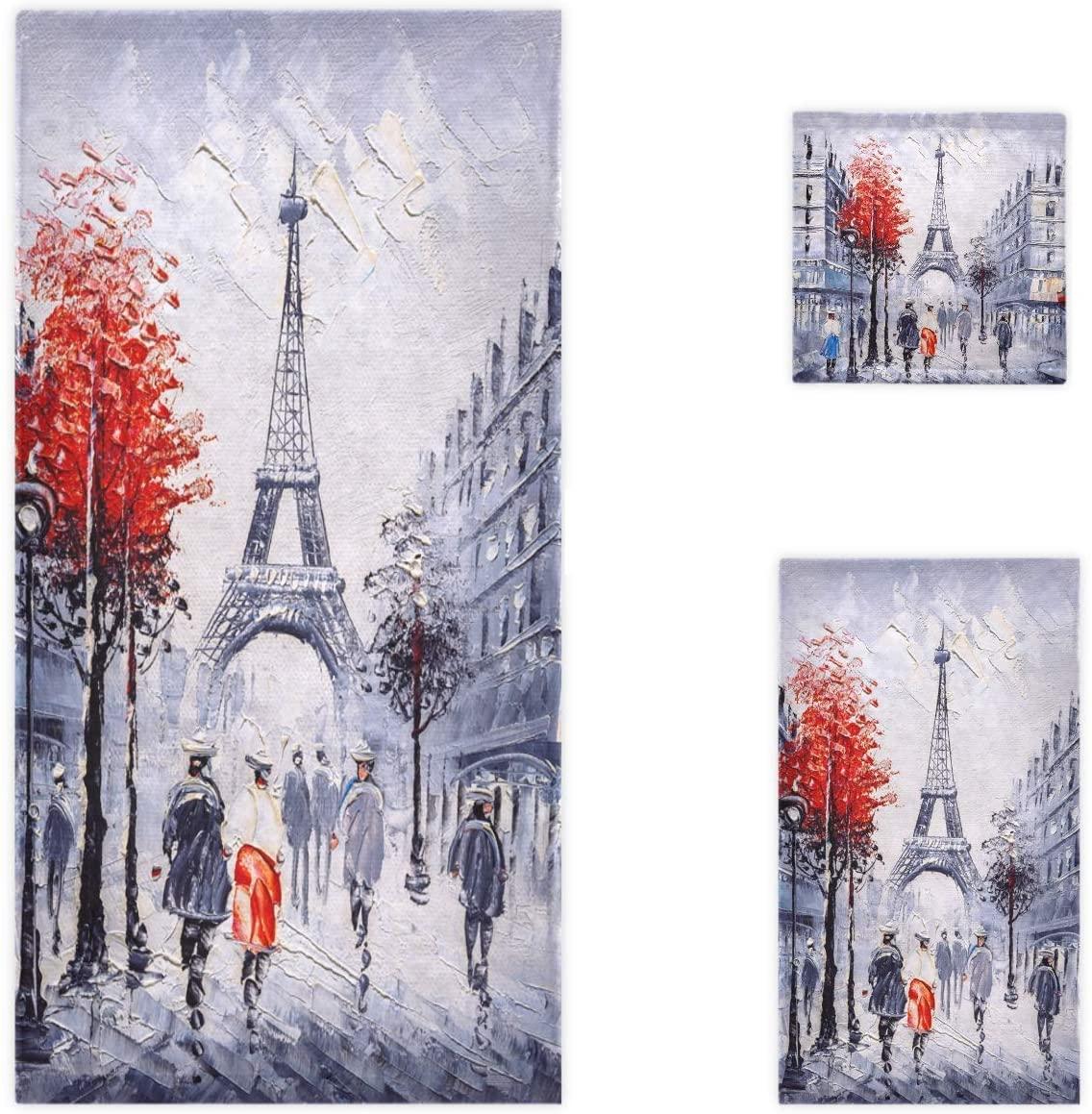 Naanle Stylish Paris Street Eiffel Tower Painting Soft Luxury Decorative Set of 3 Towels, 1 Bath Towel+1 Hand Towel+1 Washcloth, Multipurpose for Bathroom, Hotel, Gym, Spa and Beach