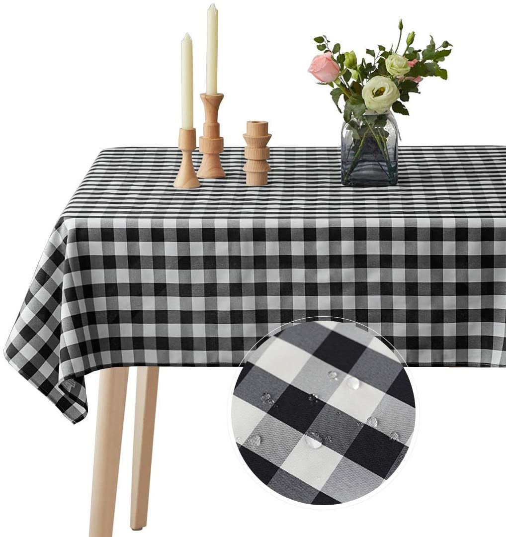 VEEYOO Spillproof Checkered Tablecloth Polyester Stain Resistant Wrinkle Free and Waterproof Table Cloth for Outdoor Picnic,Party, Home Dinner (Rectangle Tablecloth, White & Black, 60x102 inch)
